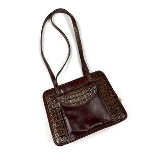 Brahmin Brown Leather & Croc Shoulder Bag